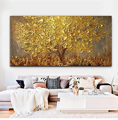 Orlco Art Wanddekoration, handbemalt, Landschafts-Blumen-Wandkunst, abstraktes Palettenmesser, goldfarbener Baum mit Blüten, Ölgemälde auf Leinwand, Familienzimmer, Wohnzimmer-Kunst Wanddekoration