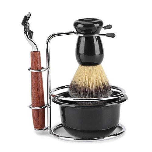 4Pcs Rasierset Kit Pinsel Set Rasierpinsel mit Edelstahl Bürstenständer Halter Rasierapparat Rasierseife Schüssel für Männer manuelle Rasur