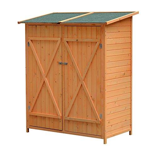 Outsunny Holz Gerätehaus Geräteschuppen Gartenschrank Geräteschrank Gartenhaus 159x139x75 cm