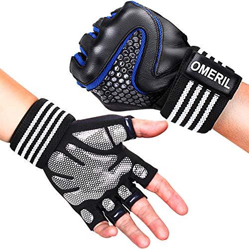 OMERIL Trainingshandschuhe Fitness Handschuhe mit Handgelenkstütze, Atmungsaktive & Rutschfeste Sporthandschuhe für Kraftsport, Bodybuilding, Fitnesstraining, Bergsteigen, für Damen und Herren