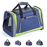 Zedelmaier Faltbare Hundetasche, Hundetragetasche, Katzentragetasche, Transporttasche Transportbox für Hunde und Katzen (Marineblau & Grün)