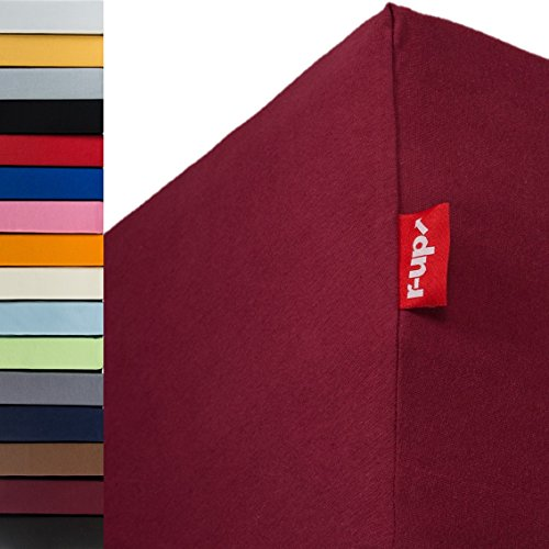 r-up Passt Spannbettlaken 180x200-200x220 bis 35cm Höhe viele Farben 100% Baumwolle 130g/m² Oeko-Tex stressfrei auch für Boxspringbetten (Bordeauxrot)