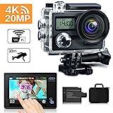 KAMTRON Action Cam 4K Wasserdicht Aktion Kamera - 20MP Ultra Full HD WiFi Unterwasserkamera Helmkamera mit EIS, 170° Weitwinkelobjektiv Sony Sensor 2'-LCD-Touchscreen 2 wiederaufladbare Batterien Reisetasche und Zubehör