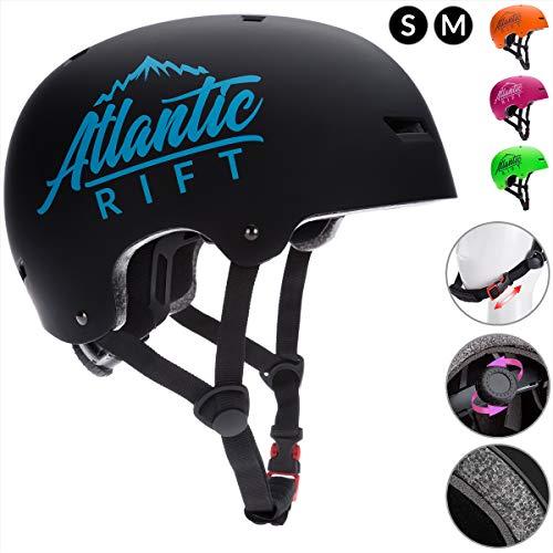 Deuba Atlantic Rift Skaterhelm Kinder Neongrün Verstellbarer Kinngurt Größe M BMX Helm Kinderhelm Skatehelm Scooterhelm