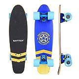 BAYTTER 22 Zoll Skateboard Komplett Board Mini-Cruiser aus 7-lagigem Ahornholz 57 x 15cm für Kinder, Jugendliche und Erwachsene mit ABEC-11 Kugellager und 95A Rollenhärte, 5 Farben wählbar (blau)