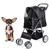 Dawoo Haustier Hund Katze Tier Kinderwagen Kinderwagen Kinderwagen Jogger Buggy mit 4 Rädern (Schwarz)