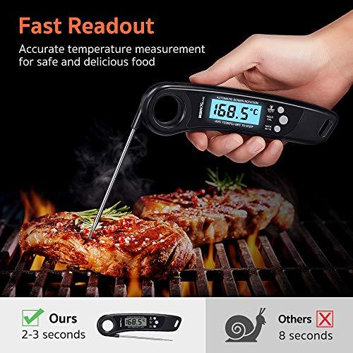 ESR7Gears Kochthermometer, Küchenthermometer, Haushaltsthermometer - Fleischthermometer mit schneller LCD-Anzeige, klappbarem Messfühler, Kalibrierungsfunktion für Küche, Grillen & Steak - Schwarz
