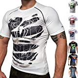 Khroom Hochwertiges Herren Funktionsshirt   Perfekt für Fitness & Gym - Kompressionsshirt im stylischen Helden Design (Black Spiderman weiß, L)