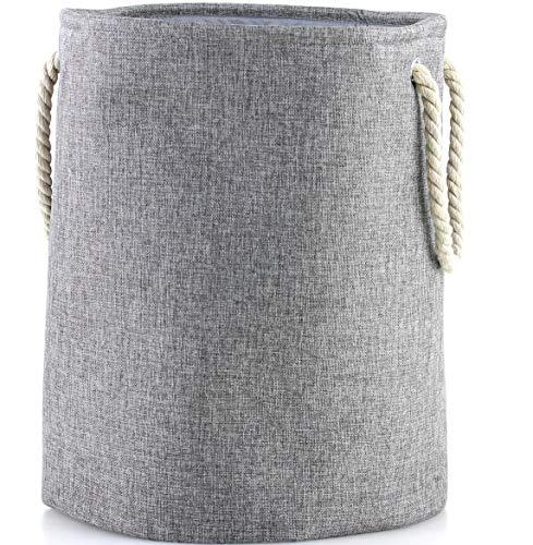 LATIJA maritimer Wäschekorb, Faltbarer Aufbewahrungskorb aus Leinen in grau oder beige mit Langen Henkeln, Stabiler und stylisher Wäschesammler, runder Wäschesack; H: 40 x 50 cm; (Laundry Basket)