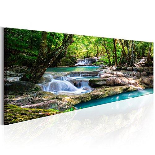 decomonkey | Bilder Wasserfall 120x40 cm | 1 Teilig | Leinwandbilder | Vlies Leinwand | Wandbilder | Wand | Bild | Wandbild | Kunstdruck | Wanddeko | Wald Natur Landschaft