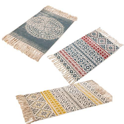 farmer-W Retro Dekorative Baumwollbereich Teppich, Handgewebte Maschinenwaschbare Flickenteppich Eingang Dünne Bodenmatte Teppich mit Quaste für Wohnzimmer Schlafzimmer