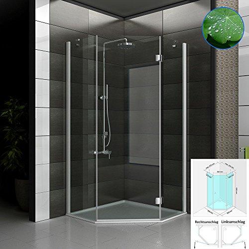 Exclusive Fünfeck Dusche mit Nanobeschichtung 90x90x195 cm 3-teilig aus ESG Glas Duschabtrennung