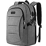 IIYBC Reise Laptop Rucksack, Diebstahlschutz Laptop Tasche mit USB-Ladeanschluss, Business Rucksack für Herren und Damen, College Schule Rucksack Tasche für 15,6 Zoll Laptop und Notebook-Grau