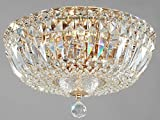 Runde Kristall Deckenleuchte, Gestell in Farbe Gold, zahlreiche echte Kristalle in verschiedenen Formen, 3-flammig, exkl. E14 60W, 220V-240V