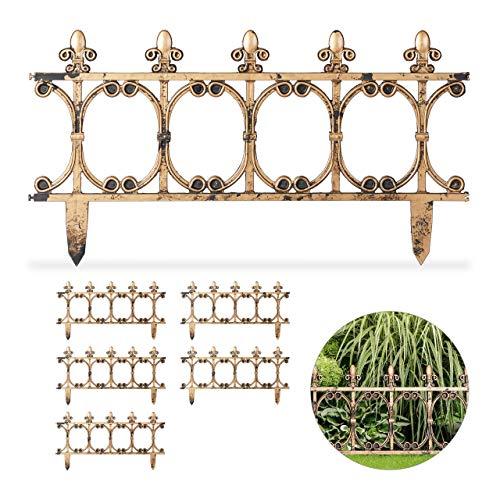 Relaxdays 6-teiliger Beetzaun antik, dekorativer Steckzaun für Garten, Vintage Design, Erdspieße, H: 24 cm, kupferoptik