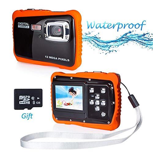 PROACC wasserdichte Kamera für Kinder (bis 3 Meter), Unterwasser Kinderkamera Camcorder HD720p 12MP Digital Sportkamera mit 8 GB Speicherkarte, 2.0 '' LCD-Bildschirm, 8X Digital Zoom, Flash Mic