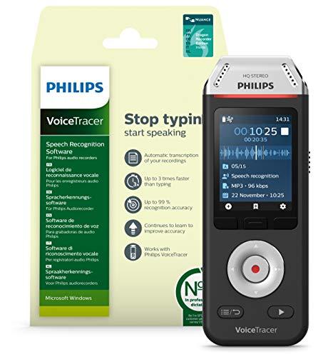 Philips Voicetracer Audiorecorder DVT2810 mit Dragon- Spracherkennungssoftware