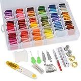 WOWOSS 169 Stück Stickgarn String Kits enthält 108 Farbe Baumwolle Rainbow Stickerei Floss und 61 Stück Stickerei Tools Kits mit Organizer Aufbewahrungsbox Inhaber Fall für Freund Armbänder
