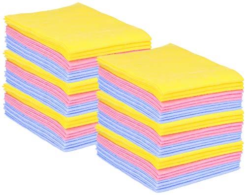 com-four 60 Haushaltstücher, extrem saugfähige und strapazierbare Allzweck-Wischtücher aus Viskose (60 Stück - Putztücher)