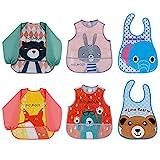 Lictin 6 Pack Lätzchen und Lätzchen Set EVA Wasserdichtes Unisex Baby Lätzchen für Kinder von 6 Monate bis 3 Jahre alt