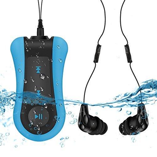 8GB Wasserdichte MP3 Player IPX8 18 Stunden Wiedergabe Musik Player Kompatibel Schwimmbrille, von AGPTEK S12, Blau