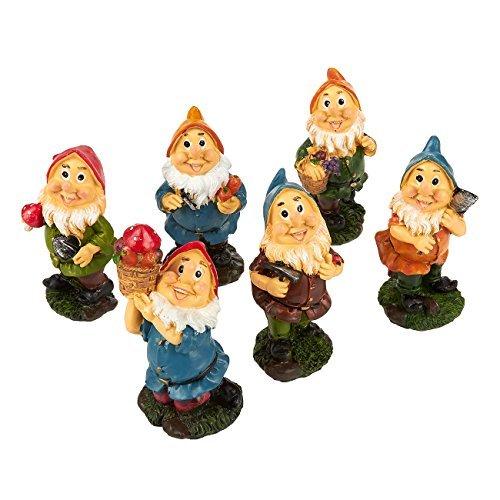 Juvale Set von 6 Mini-Zwergfiguren - Feengarten - Zwergfiguren, 4,8 x 10,2 x 4,6 cm