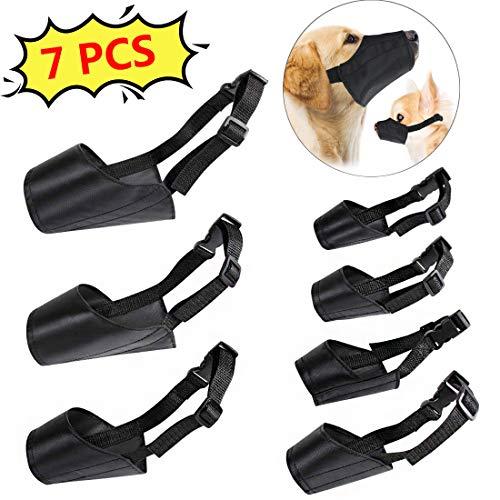 PROZADA [ 7 PCS] Nylon Hund Maulkorb, Einstellbare atmungsaktive Sicherheit Haustier Hund Maulkörbe Anti-Biss Anti-Bellen Anti-Kauen Sicherheitsschutz, geeignet für kleine mittlere große Hund