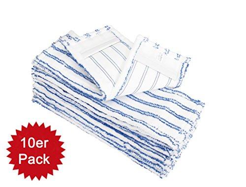 HELOME 10x Microfasermöppe für Haushalt und Gewerbe - Wischmöppe für 40cm Mopphalter - Wischbezüge mit Blauen Abrasivstreifen - Taschenbezüge für Professionelle Reinigung