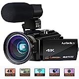 4K Camcorder, Aabeloy Vlogging Videokamera Ultra HD WiFi Digitalkamera 48.0MP 3.0-Zoll-Touchscreen Nachtsichtgerät 16X Zoom Digitaler Recorder mit Externem Mikrofon und Weitwinkelobjektiv, 2 Batterien
