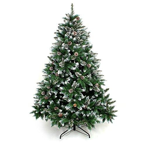 Yorbay Weihnachtsbaum Tannenbaum mit Ständer 120cm-240cm für Weihnachten-Dekoration (mit Schnee, 150cm)