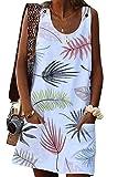 Yieune Sommerkleid Damen Sexy Ärmellos Rundhals Knielang Party Kleid Strandkleid (Weiß XL)