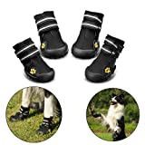 Hundeschuhe Pfotenschutz von Royalcare, wasserdicht mit anti-rutsch Sole passend für mittlere und große Hunde, schwarz(6#)