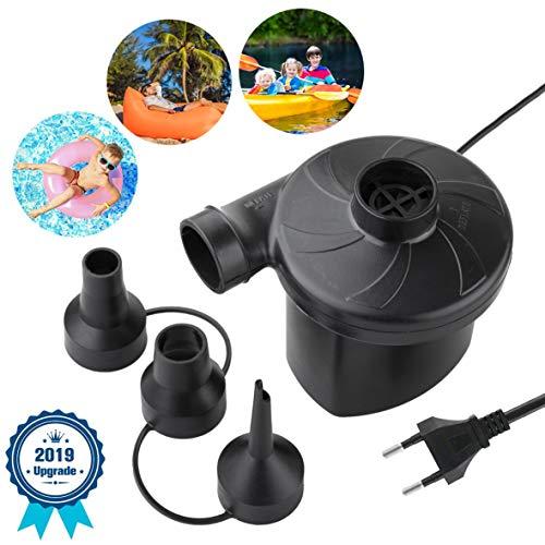 Deyace Elektrische Luftpumpe, 230V EU Stecker Auto Elektropumpe mit 3 Aufsätze,Schlauchboote Gebläse für Home Camping Luftmatratzen, planschbecken