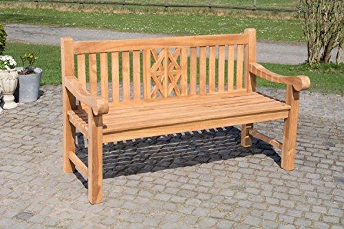 CLP Teak-Gartenbank Florida mit ergonomischer Sitzfläche | Sitzbank aus Vollholz mit Einer Sitzhöhe von: 44 cm | In verschiedenen Größen erhältlich 150x72cm