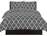 Utopia Bedding Bedrucktes Bettbezug-Set - Gebürstete Mikrofaser - Bettwäsche, Luxuriös, bequem, atmungsaktiv, weich und extrem haltbar - by (Grau, Bettbezug 200x200 cm 2 Kissenbezug 80x80 cm)