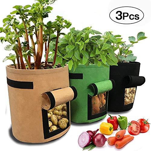 Kartoffel Pflanzsack, SPECOOL 3 pc Klettverschluss Tragegriffen Wachstumstasche 3 l Vecro Fenster Gemüsebeutel doppelschichtig, atmungsaktiv Vliesstoff (Braun + Grün + Schwarz)