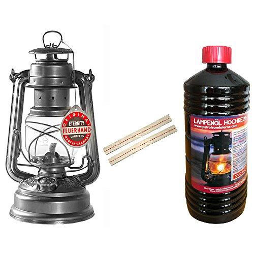 Set Feuerhand Sturm Laterne 276 Lampe verzinkt, 1 Liter Lampenöl + 2 Ersatz Dochte