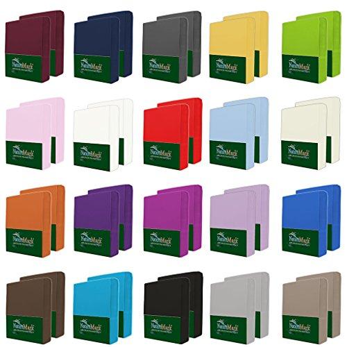 NatureMark 2er Pack MICROFASER Spannbettlaken, Spannbetttuch Doppelpack in vielen Größen und Farben MARKENQUALITÄT ÖKOTEX Standard 100   90 x 200 cm - 100 x 200 cm - anthrazit grau