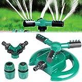Yokunat Garten Sprinkler, Rasensprenger Rasen Wasser Sprinkler 360°3-Arm Drehender Garten Wasser System Sprenger (Lunular)