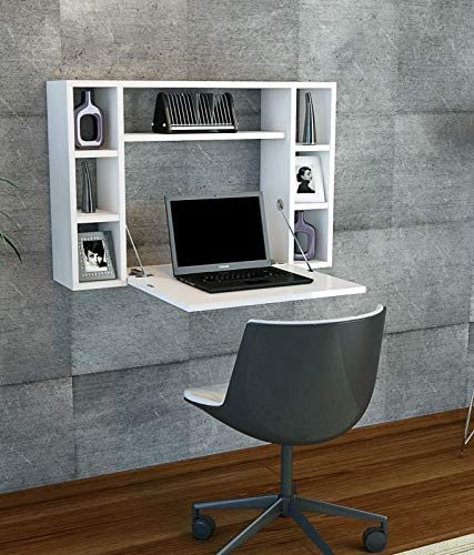 Reboz Klapptisch Schreibtisch ausklappbar in Weiß Funktion Wandtisch Computertisch