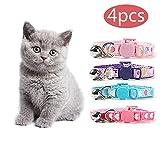 kingkindsun KKS 4-TLG-Kit-Halsband, weich einstellbares Sicherheits-Katzenhalsband mit herzförmigem Nylonband für Katzen, Welpen und Kätzchen