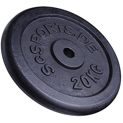 ScSPORTS 20 kg Hantelscheibe Gusseisen Einzeln, Gewicht für Langhantel- und Kurzhantel-Stangen mit 30/31 mm Bohrung