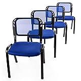 4er Set Bürostuhl Konferenzstuhl Besucherstuhl blau gepolsterte Sitzfläche stapelbar 52,5 x 45 x 80 cm Stapelstuhl Metallrahmen schwarz