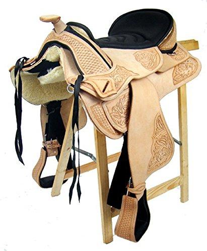 Baumloser Westernsattel UTAH ECO aus Büffelleder hoher Qualität, Größe:16 Zoll