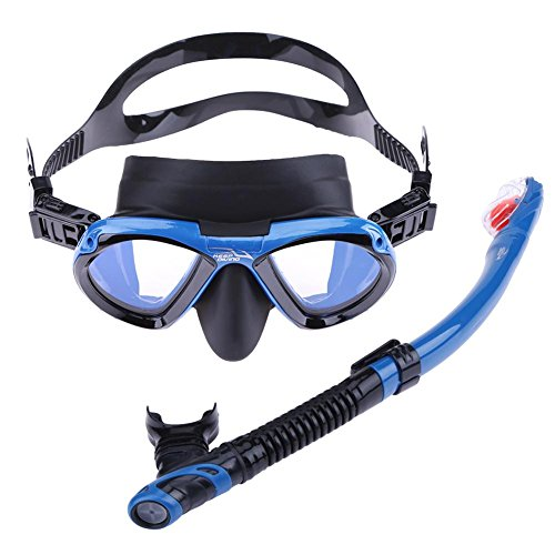 Foru-1 Schnorchelmaske aus Silikon für Unterwasser, alle trockenen Atemschläuche, blau