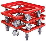 5 Stück Transportroller für Kisten 60 x 40 cm mit 4 Lenkrollen