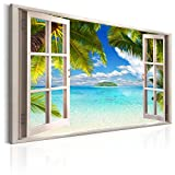 murando - Bilder Fensterblick 120x80 cm - Leinwandbild - 1 Teilig - Kunstdruck - Modern - Wandbilder XXL - Wanddekoration - Design - Wand Bild - Fenster Insel Meer See Palme Blau c-C-0090-b-a