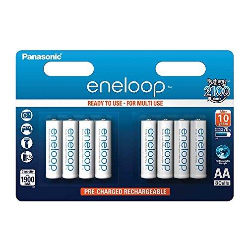 Panasonic eneloop, Ready-to-Use Ni-MH Akku, AA Mignon, 8er Pack, min. 1900 mAh, 2100 Ladezyklen, geringe Selbstentladung