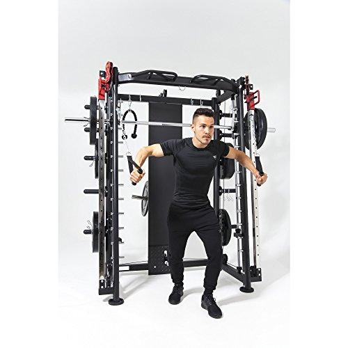 GORILLA SPORTS Multifunction Smith Machine mit Klimmzugstange, Langhantel und Gewichtsschlitten – Kraftstation Schwarz bis 200 kg belastbar