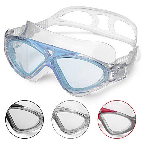 Schwimmbrille Erwachsene Anti Fog Ohne Leakage deutlich Anblick UV Schutz 180°Weitsicht Einfach zu anpassen,Professional Super komfortabeler Schwimmbrille für Mann und Frau (Blue/Clear Lens)